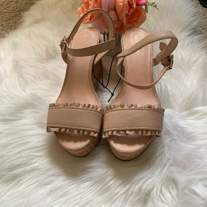 "NWOT, nude Kate Spade ""Tomas"" leather wedges, 10M"